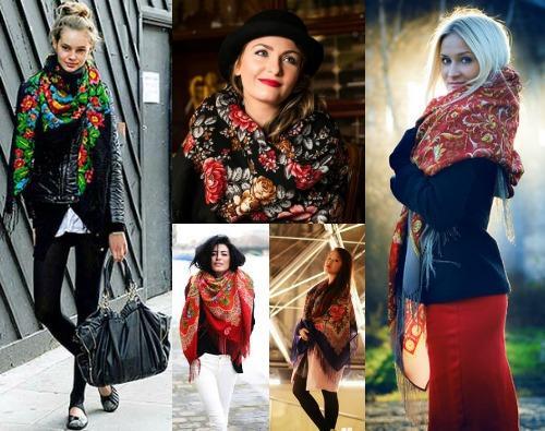 Как носить павлопосадский платок с пальто фото