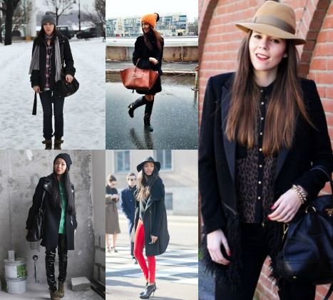 Какую шапку носить с черным пальто?