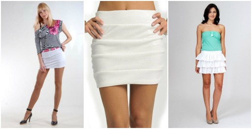 Белая юбка мини с чем носить
