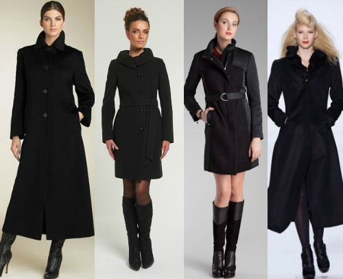 фасоны черного пальто