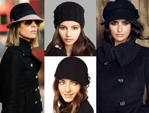 Какой головной убор выбрать к черному пальто?