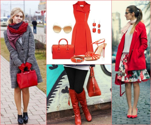С чем можно носить красную сумочку