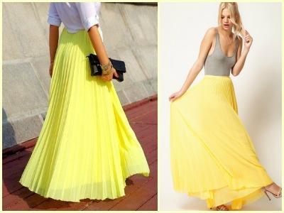 Желтая юбка длинная фото