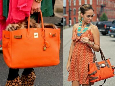 С чем носить оранжевую сумку