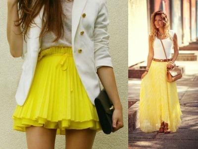 Жёлтая шифоновая юбка