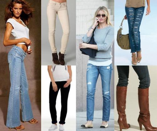 Типы джинсов и обувь к ним