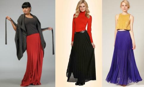 С чем носить макси юбки плиссе