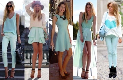 Мятный цвет в различной одежде