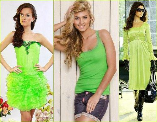 Образы с использованием одежды салатового цвета