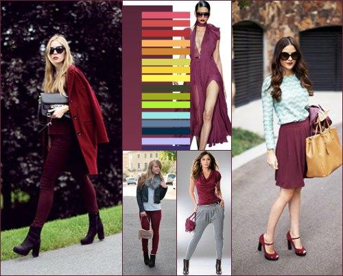 С какими цветами сочетается бордовый цвет в одежде