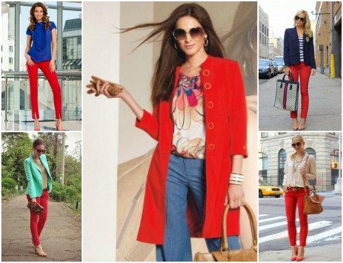 Сочетание красного цвета в одежде с другими цветами