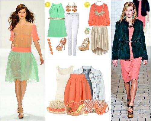 Сочетание персикового цвета в одежде