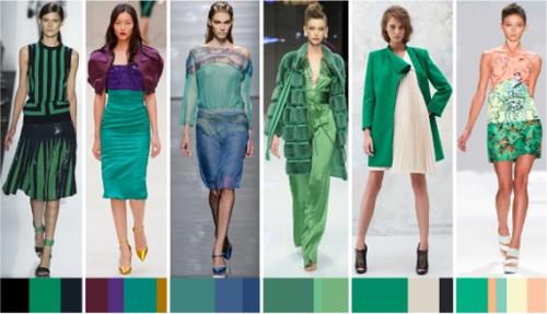 Сочетание зеленого цвета с различной одеждой