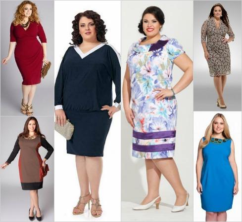 Платья для полных женщин с вырезом