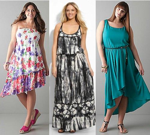 Расцветка летних сарафанов для полных женщин несколько отличается от тех цветов, которые представлены в