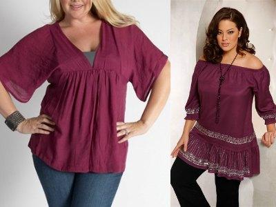 Многие женщины с пышными формами почему-то стесняются своих размеров.Блузки, туники, майки для полных: весна-лето 2012