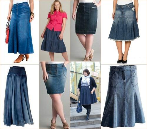 Джинсовые юбки для полных модели