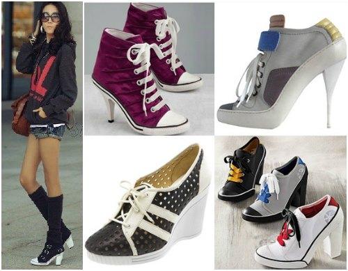 С чем носить кеды на каблуках?