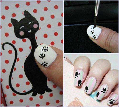 Как сделать маникюр с кошачьими лапками?
