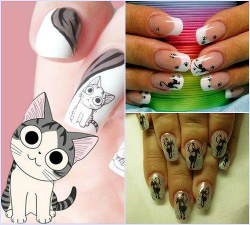 Самый простой способ создания маникюра с кошками